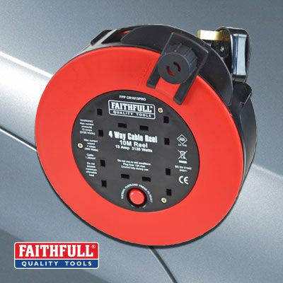 Faithfull 10 Metre Fast Rewind Cable Reel 13 Amp 240 Volt